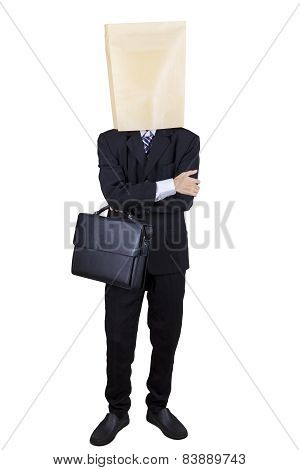Confident Businessman With Cardboard Head