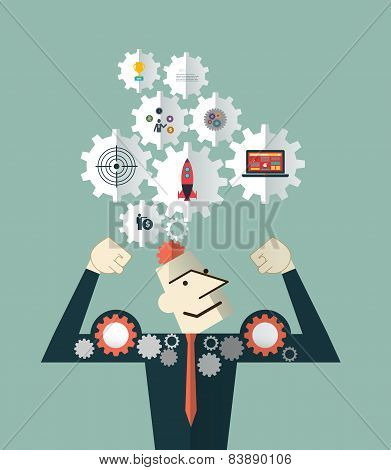 Strong Businessman And Head With The Symbol Gears Icons