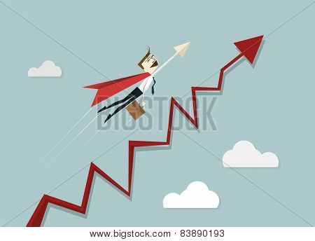 Superhero Businessman Flying Over Chart