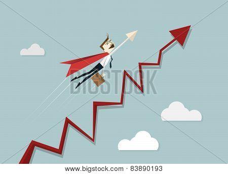 Superhero Businessman Flying Over Chart