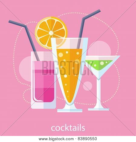 Set of alcoholic cocktails