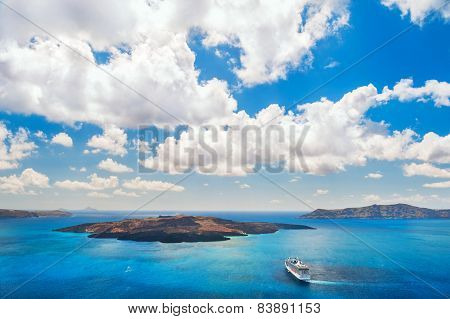Cruise Liner Near The Greek Islands