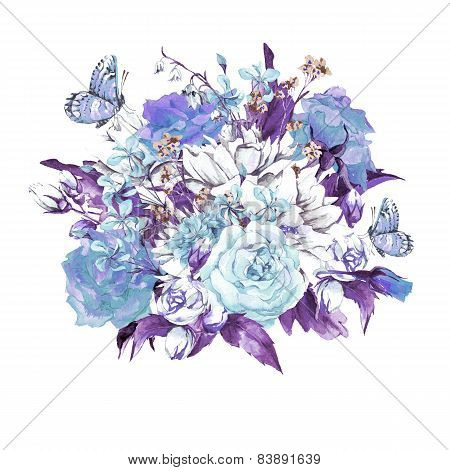 Blue Gentle Vintage Floral Greeting Card