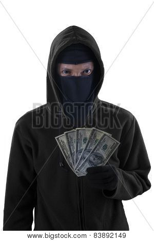 Male Bandit Holds The Money Stolen