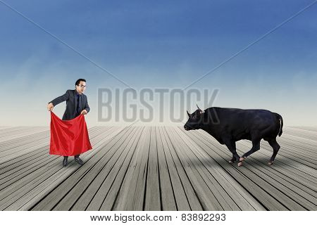 Male Entrepreneur Fight With A Bull