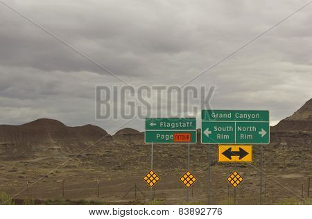 Road Sign To Grand Canyon