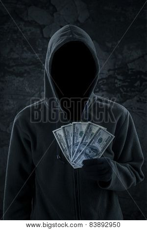 Mysterious Burglar Holding Money Cash