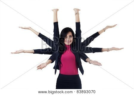 Pretty Businesswoman With Eight Hands