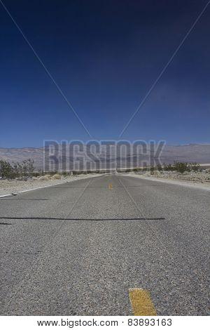 Street Through Desert In The Death Valley National Park