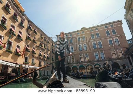 Gondolier Depart From Gondola Station, Venice, Italy