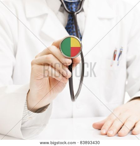 Doctor Holding Stethoscope With Flag Series - Benin
