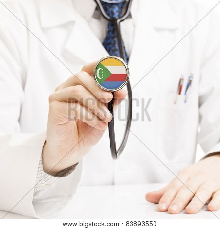 Doctor Holding Stethoscope With Flag Series - Comoros