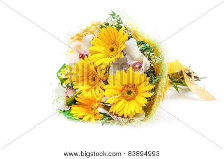 Bouquet of different flowers isolated on white