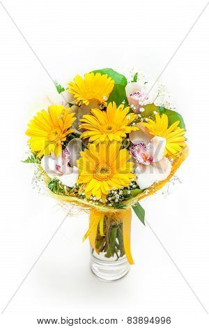 Bouquet of different flowers in vase isolated on white