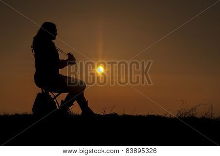 girl with binoculars in nature and bird watching nature