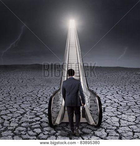 Worker Walking Toward A Chance Door At Sky