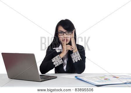 Young Manager With Silent Gesture