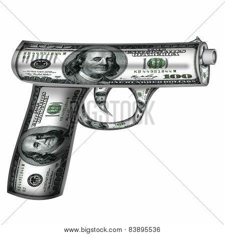 Handgun  Made From Dollars