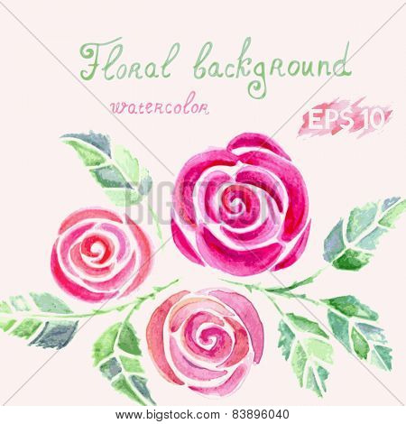 Greeting card with watercolor roses flowers