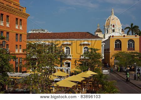Colourful Plaza in Cartagena