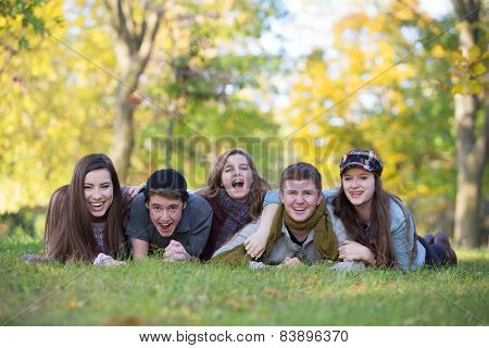 Five Happy Teens Outdoors