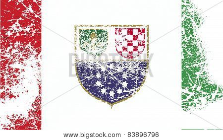 Flag Of Bosnia And Herzegovina Federation With Old Texture. Vector