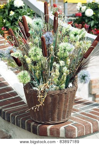 Basket with floral composition