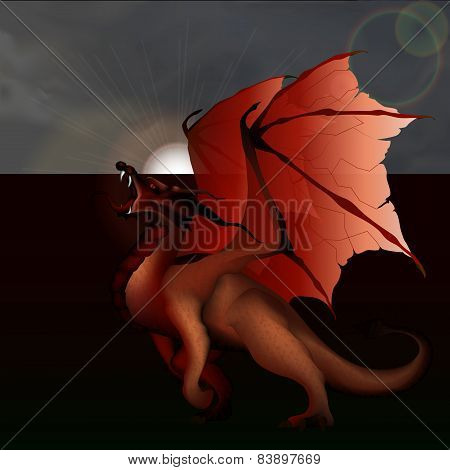 Red Dragon Against The Gray Sky