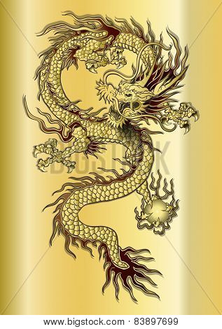 Chinese Dragon On A Gold Background