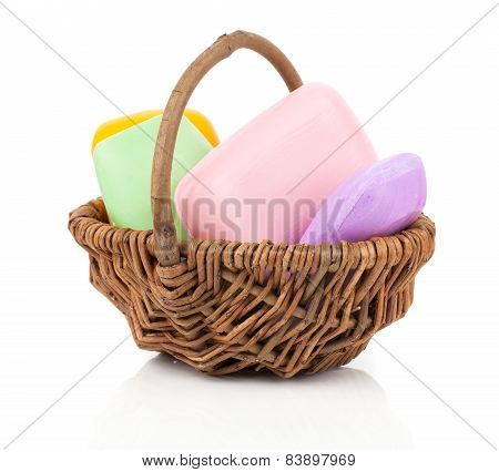Colorful Soap Bars In The Wicker Basket, Isolated On White Background