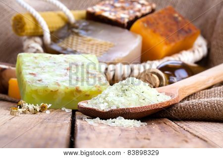 Aromatic Spa Set With Sea Salt And Soap, On Wooden Background