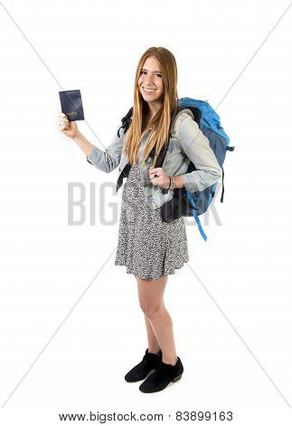 Happy Young Student Tourist Woman Carrying Backpack Showing Passport In Tourism Concept