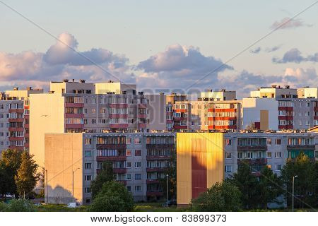 Residential high-rise buildings on sunset