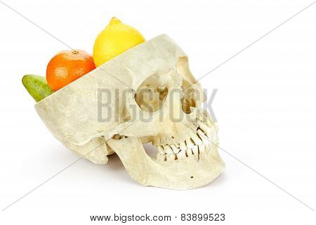 Human skull as fruit scale