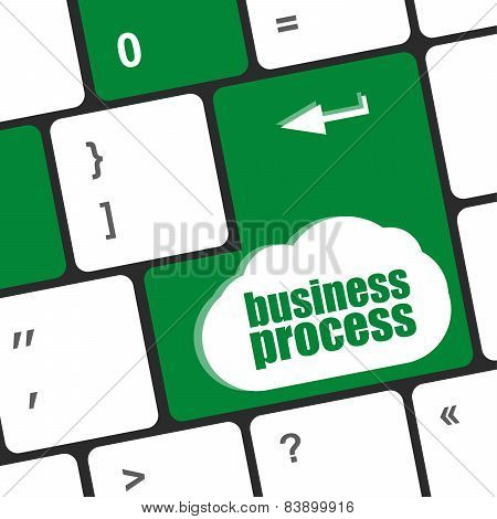 Keyboard Key With Business Process Button, Business Concept