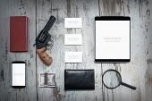 stock photo of private detective  - Mockup business template - JPG
