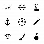stock photo of pirate sword  - Vector pirate icon set on white background - JPG