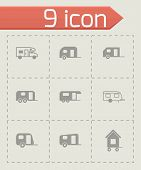 stock photo of tractor trailer  - Vector trailer icon set on grey background - JPG