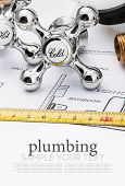 stock photo of mechanical drawing  - plumbing and tools lying on drawing for repair - JPG