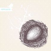 picture of bird-nest  - Vector vintage design for you Easter card or invitation with hand drawn bird nest illustrations - JPG