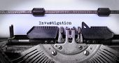 picture of investigation  - Vintage inscription made by old typewriter investigation - JPG