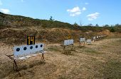 stock photo of shooting-range  - Old biathlon shooting range in the district center in April - JPG