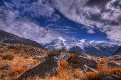 image of hookers  - Autumn colours the grasses and foliage in the Hooker Valley - JPG