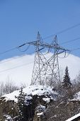 foto of utility pole  - Power poles near the Gotthard massif in the Swiss canton Ticino  - JPG