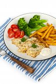 pic of catfish  - Fried Catfish fillet with vegetables - JPG