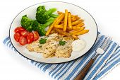 stock photo of lent  - Fried Catfish fillet with vegetables - JPG