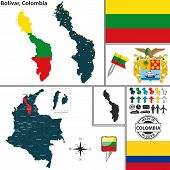 picture of bolivar  - Vector map of region of Bolivar with coat of arms and location on Colombian map - JPG