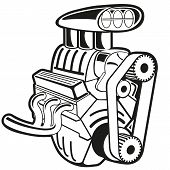 picture of dragster  - Vector illustration of the engine - JPG