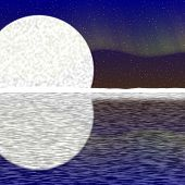 picture of australie  - Illustration of big moon aurora on nigh sky and snowy horizon with reflection on water - JPG