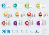 image of august calendar  - Calendar 2016 vector decign template - JPG